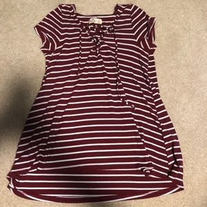 Hollister red and white stripe shirt